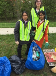 Aravinda and Khiyali Pillalamarri, Pam Dehmer at the Adopt-a-Road Clean-Up, April 30, 2016