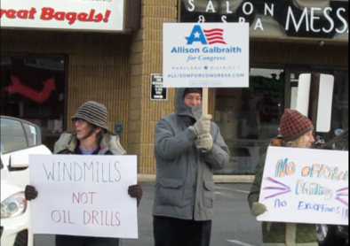 "Harford and Cecil county constituents protest offshore drilling outside the office of Andy Harris who has said he is ""not an opponent"" of the policy declared by Trump to open the US coastline to drilling."